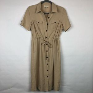 Appleseed's Petites full button down dress tan